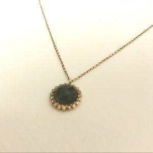 Diamond and green quartz gold necklace!